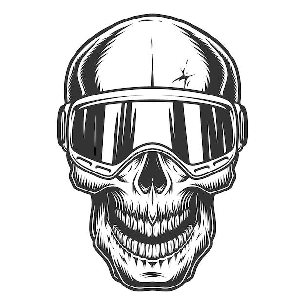 Crâne Dans Les Lunettes De Ski Vecteur gratuit
