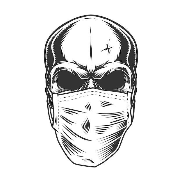 Crâne Dans Le Masque Médical Vecteur gratuit