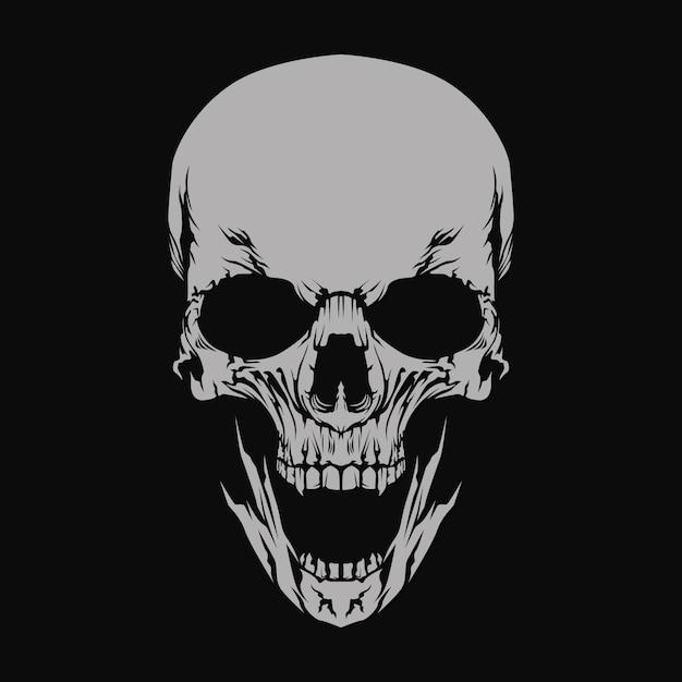 Crâne dans le noir Vecteur Premium