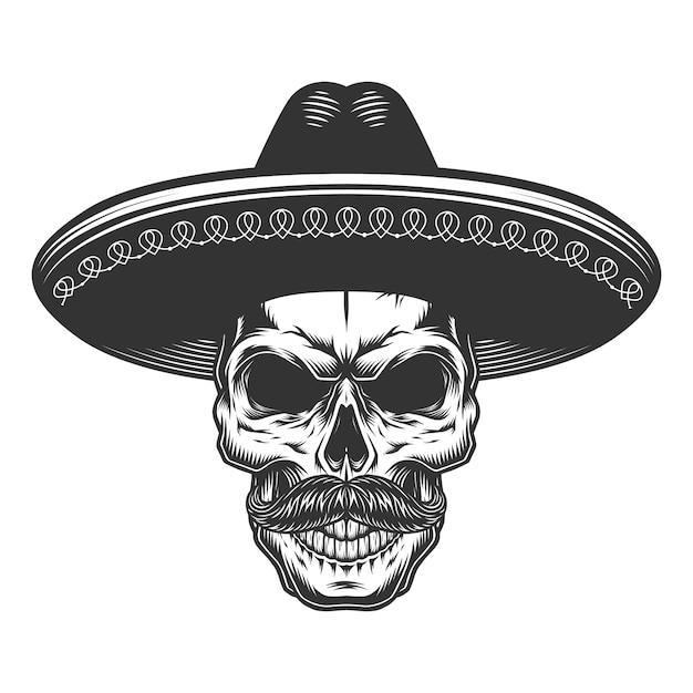 Crâne Dans Le Sombrero Mexicain Vecteur gratuit