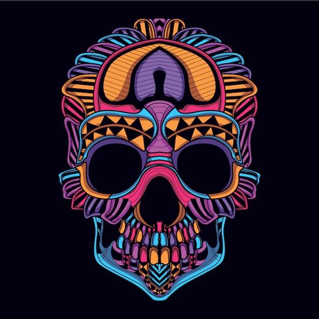 Crâne décoratif de couleur néon Vecteur Premium