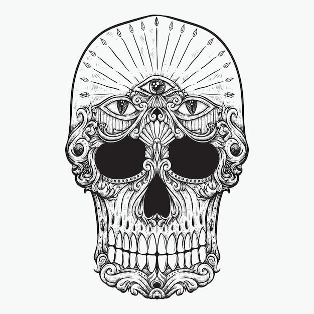 Crâne Dessin Au Trait Trois Yeux Sur Le Front Dessin Floral Vecteur Vecteur Premium