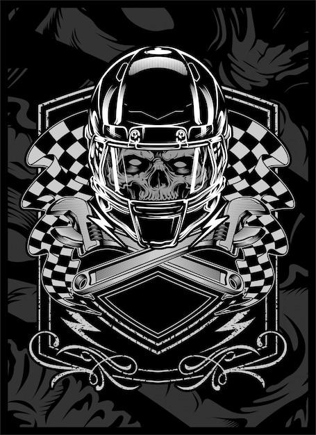 Crâne avec dessin à la main helmet.vector Vecteur Premium