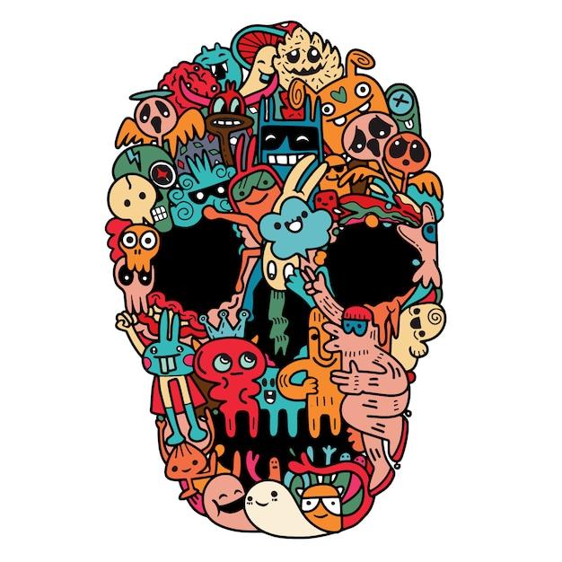 Crâne dessiné à la main en monstre mignon Vecteur Premium