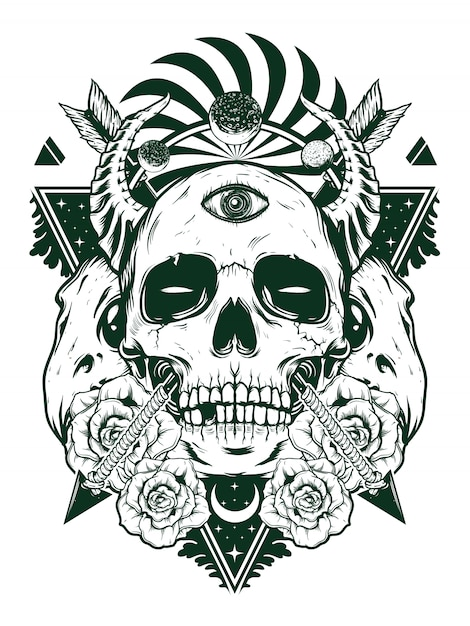 Crâne de diable pour la conception de la chemise en concept blanc noir Vecteur Premium