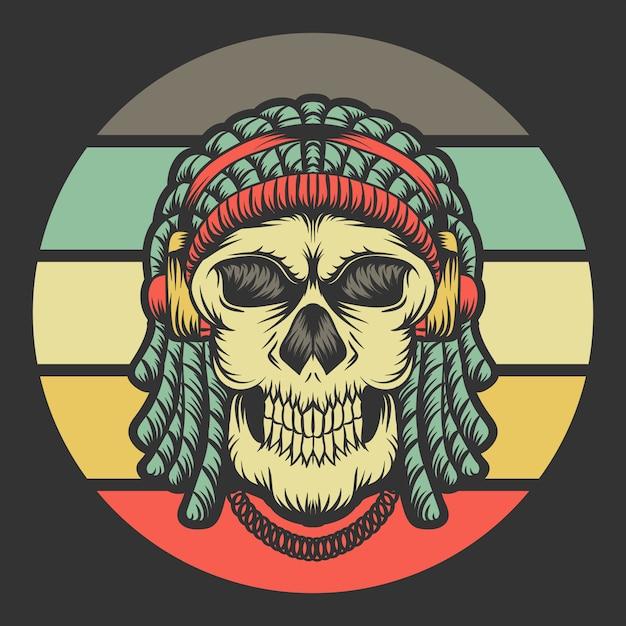 Crâne dreadlocks casque rétro Vecteur Premium