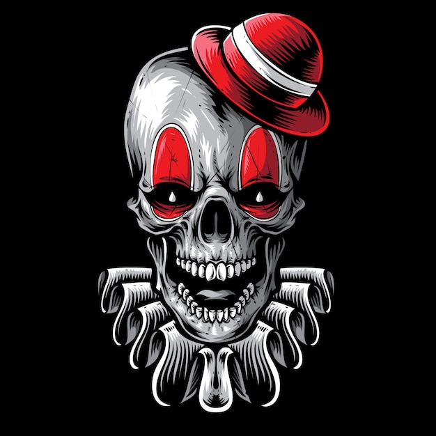 Crâne effrayant art de vecteur de clown Vecteur Premium