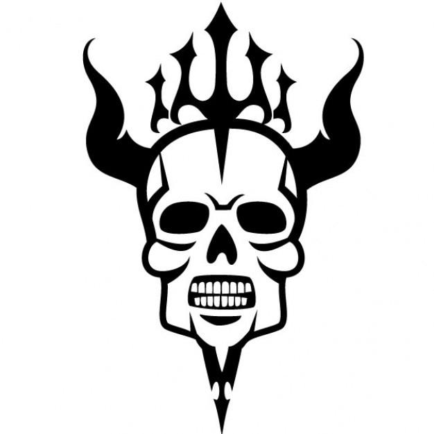 Crâne effrayant avec des cornes illustration vectorielle Vecteur gratuit