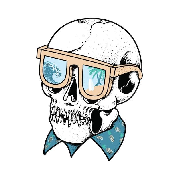 Crâne été illustration graphique art vecteur t-shirt design Vecteur Premium