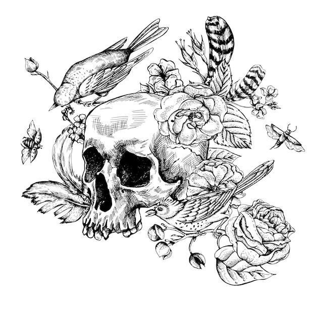 Crâne avec des fleurs, des roses, des oiseaux et des plumes Vecteur Premium
