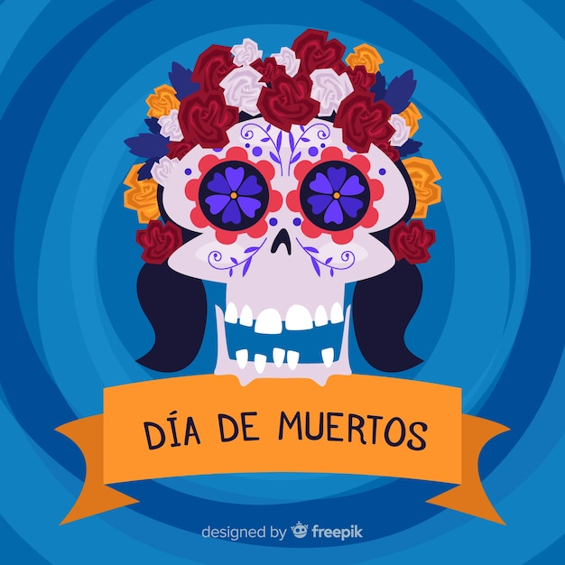 Crâne floral hippy pour fond de dia de muertos Vecteur gratuit