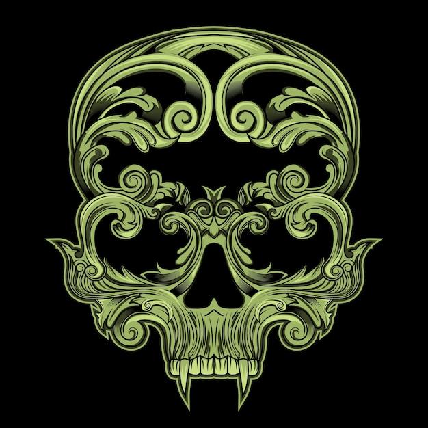 Crâne en floral Vecteur Premium
