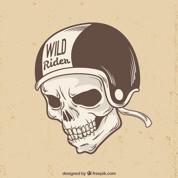 Crâne avec le fond du casque de cycliste Vecteur gratuit
