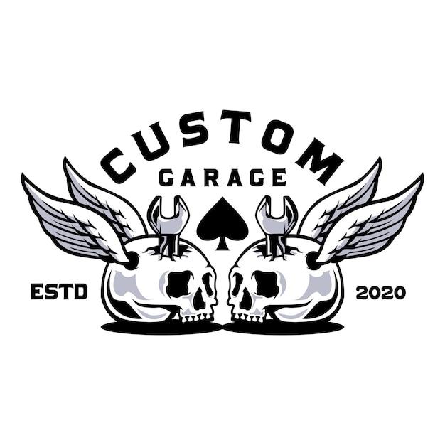 Crâne Avec Garage Personnalisé Clé Vecteur Premium