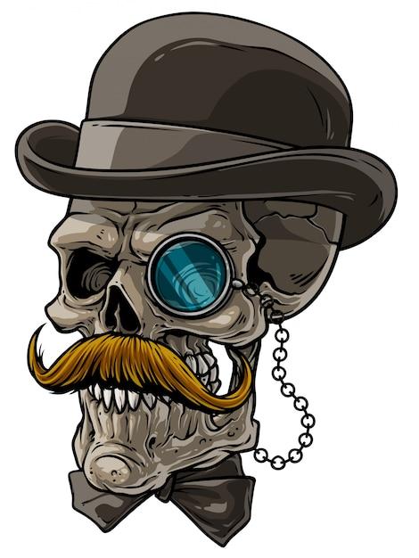 Crâne de gentilhomme de bande dessinée avec chapeau noir et monocle Vecteur Premium