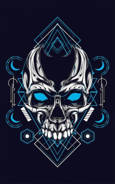 Crâne géométrie sacrée Vecteur Premium