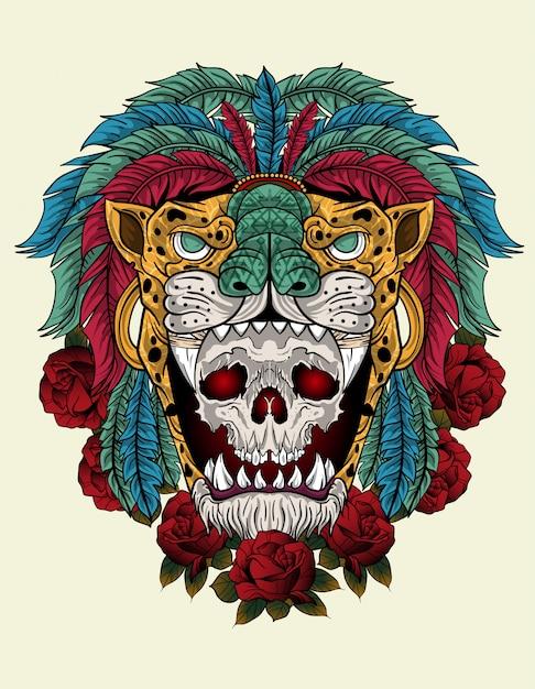 Crâne de guerrier aztèque Vecteur Premium