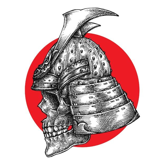Crâne de guerrier samouraï Vecteur Premium