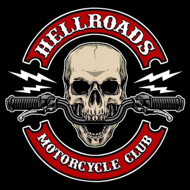 Crâne avec guidon de moto, approprié pour logo de club de moto Vecteur Premium