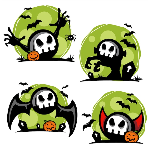 Crâne halloween thème set Vecteur Premium