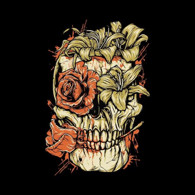 Crâne Horreur Fleur Meurent Sang Illustration Graphique Art Tshirt Design Vecteur Premium