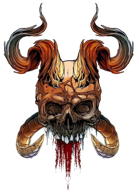 Crâne humain coloré avec cornes de deamon Vecteur Premium