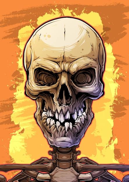 Crâne humain coloré détaillé avec des dents cassées Vecteur Premium