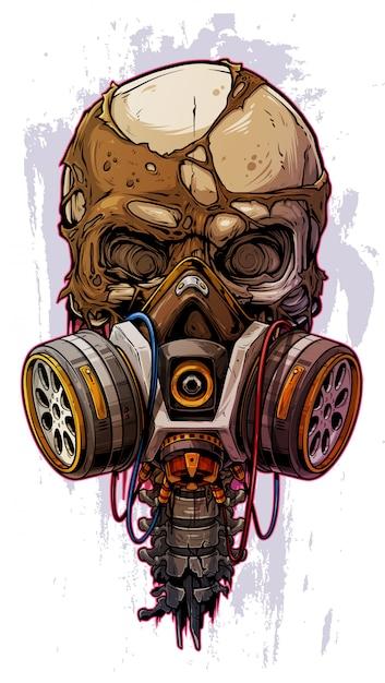 Crâne humain coloré détaillé avec masque à gaz Vecteur Premium