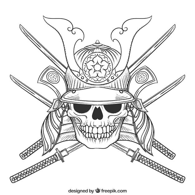 Crâne illustration avec des épées Vecteur gratuit