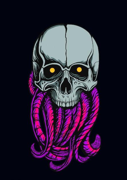 Le crâne d'une illustration de monstre de poulpe Vecteur Premium
