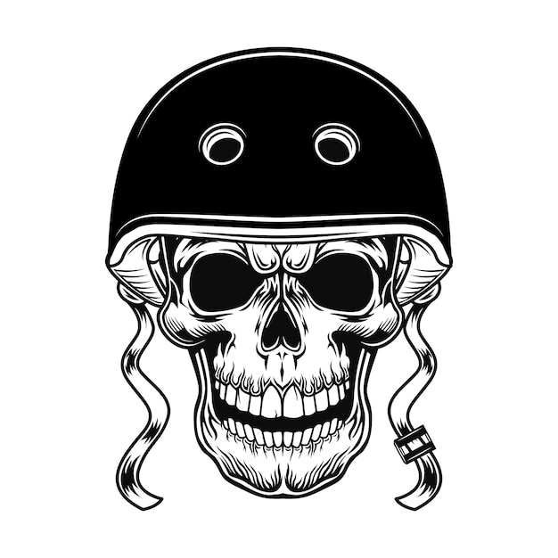 Crâne D'illustration Vectorielle De Motard. Tête De Personnage En Casque Pour Moto Vecteur gratuit