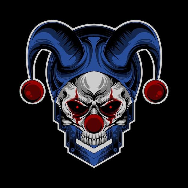 Crâne logo de clown Vecteur Premium