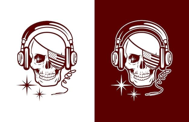 Crâne De Luxe Et Vintage Avec Drapeau Américain Couvert D'un Logo D'oeil Et Casque Vecteur Premium