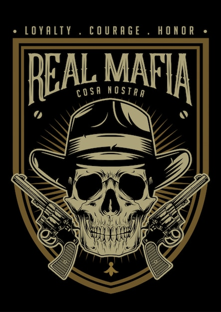 Crâne de mafia avec emblème de pistolets Vecteur Premium