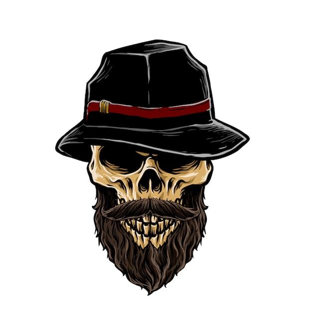 Crâne De Mafia Avec Illustration De Chapeau Fedora Vecteur Premium