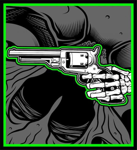 Crâne main tenir pistolet Vecteur Premium