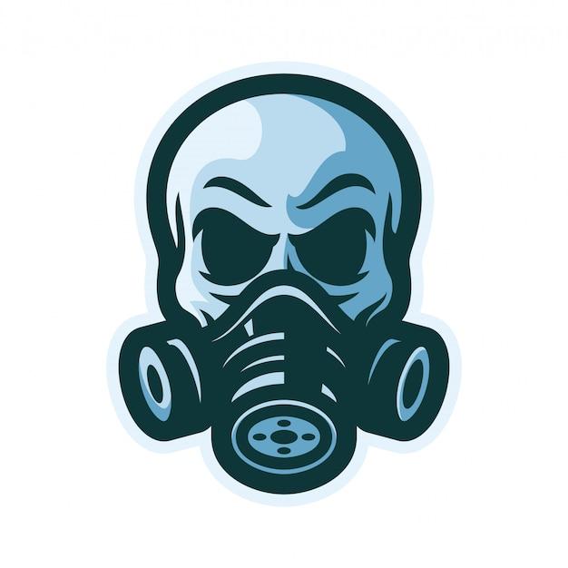 Crâne avec masque à gaz mascotte illustration vectorielle logo Vecteur Premium