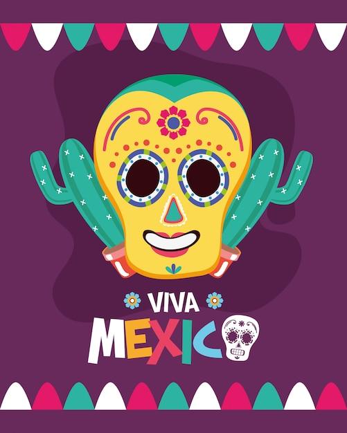 Crâne Mexicain Avec Cactus Vecteur gratuit
