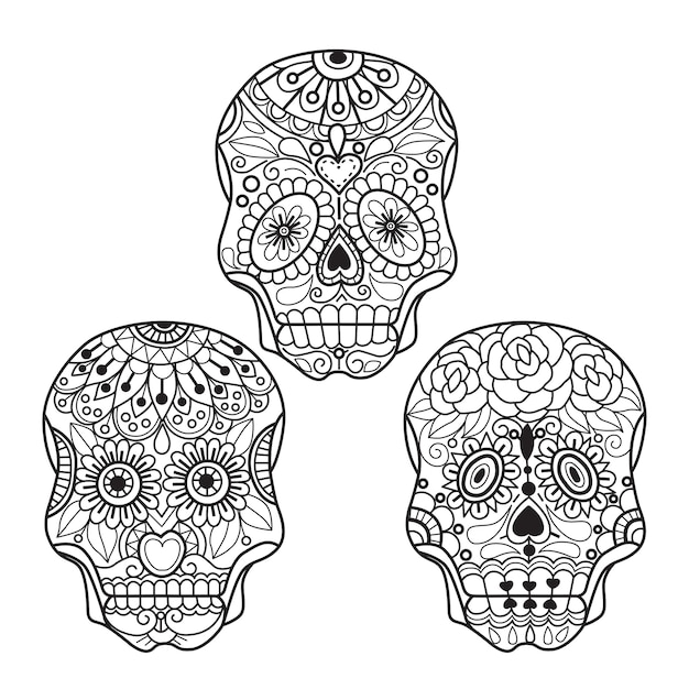 Crâne mexicain à colorier pour adultes Vecteur Premium
