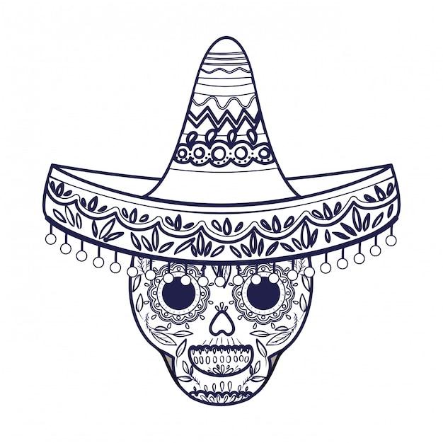 Crâne mexicain avec icône isolé chapeau Vecteur Premium