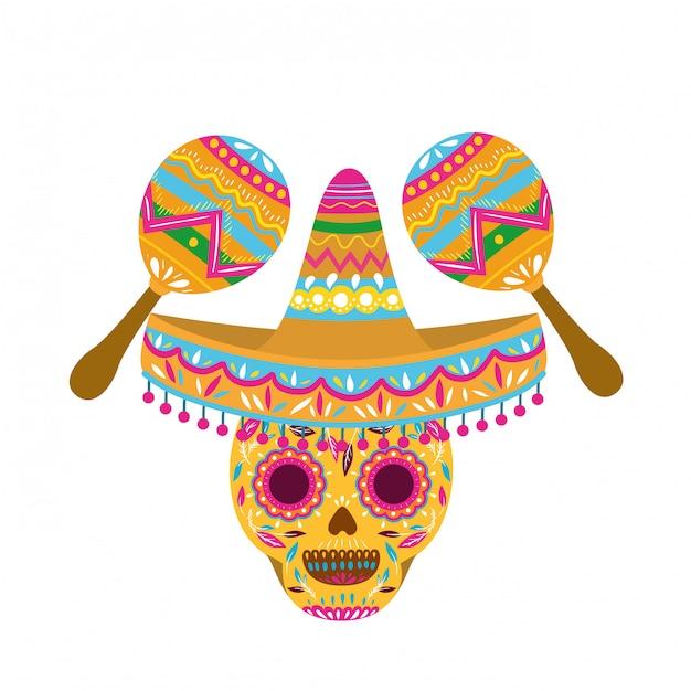 Crâne mexicain avec icône isolé maraca Vecteur Premium