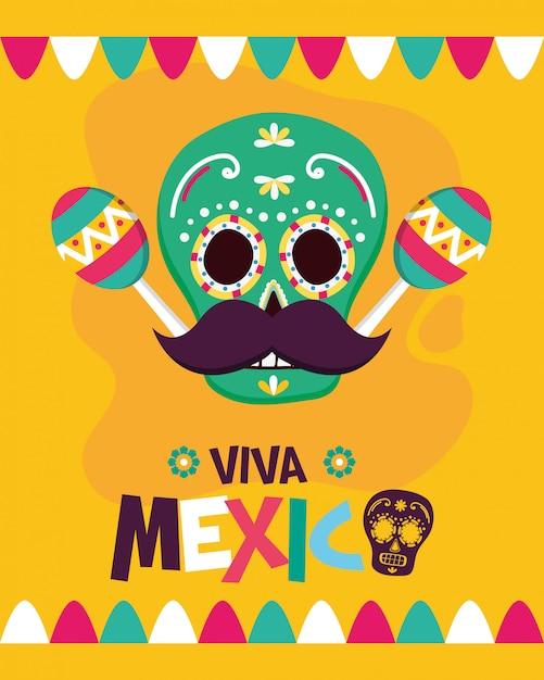 Crâne mexicain avec maracas Vecteur gratuit