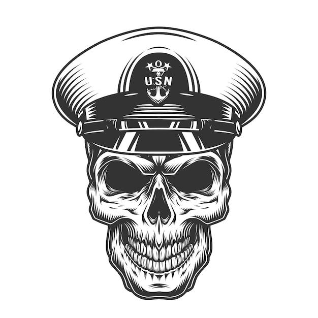 Crâne Militaire Monochrome Vintage Vecteur gratuit