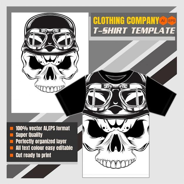 Crâne de modèle de t-shirt portant casque rétro-vecteur Vecteur Premium