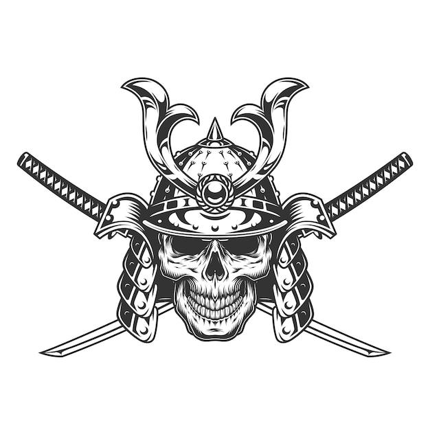 Crâne Monochrome Vintage Dans Un Casque De Samouraï Vecteur gratuit
