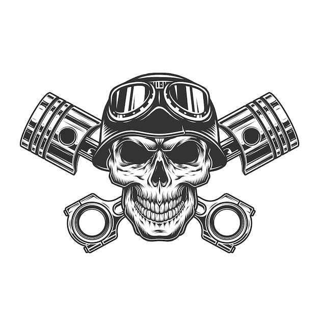 Crâne De Motard Dans Le Casque De Moto Vecteur gratuit
