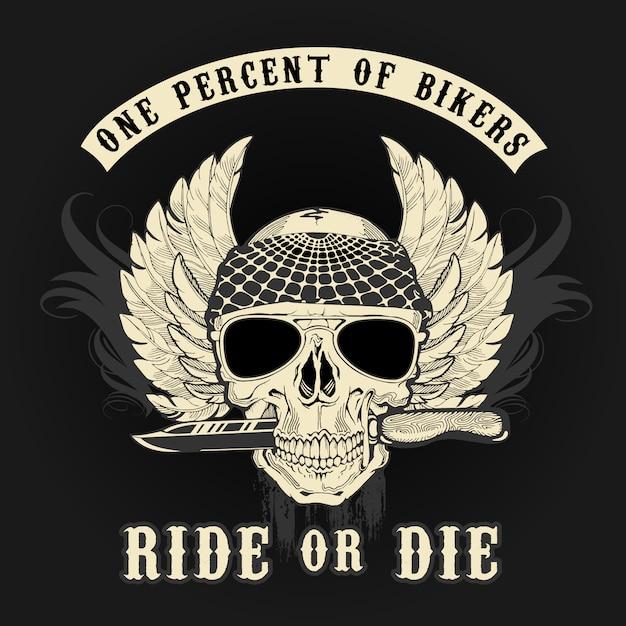 Crâne de motard avec logo graphique et couleurs de couteau Vecteur Premium