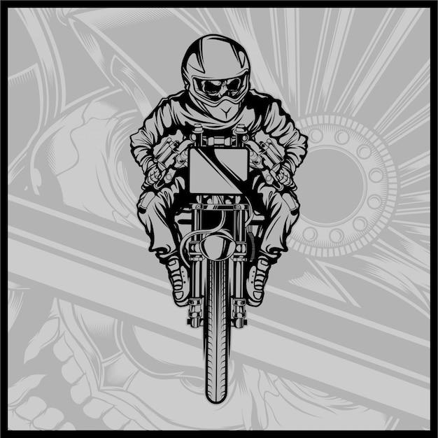 Crâne moto courses Vecteur Premium