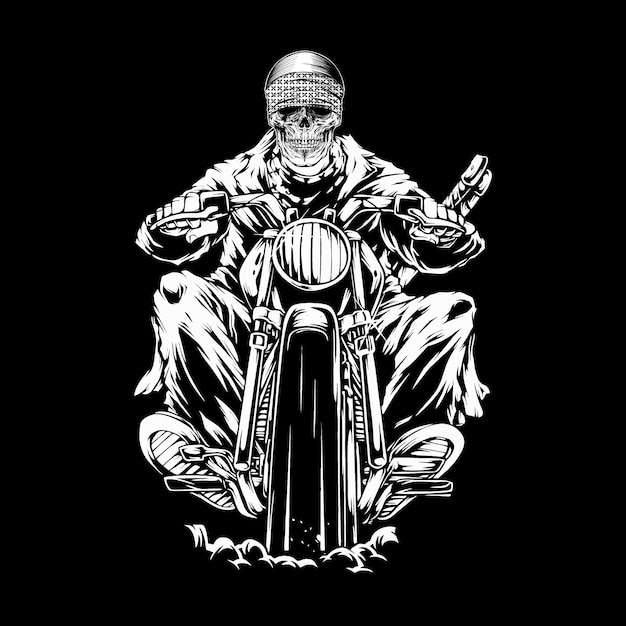 Crâne à moto crâne à moto Vecteur Premium