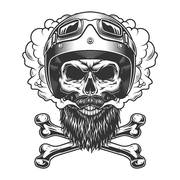 Crâne De Motocycliste Monochrome Vintage Vecteur gratuit